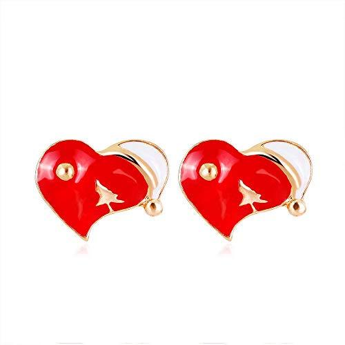 JIAJBG Pendientes para Mujer Pendientes de Navidad Moda Diamante Artificial Pendientes en Forma de Corazón Pendientes Pendientes Pendientes Joyería para Compras, Fiestas Y Viajes De