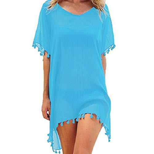 Voqeen Copricostume Donna Costume da Bagno Donna Abito Spiaggia Costumi da Bagno Donna Nappa Sexy Bikini Cover Up Camicetta Boemo Chiffon Costume da Bagno Abito Copricostume Mare Tunica Top