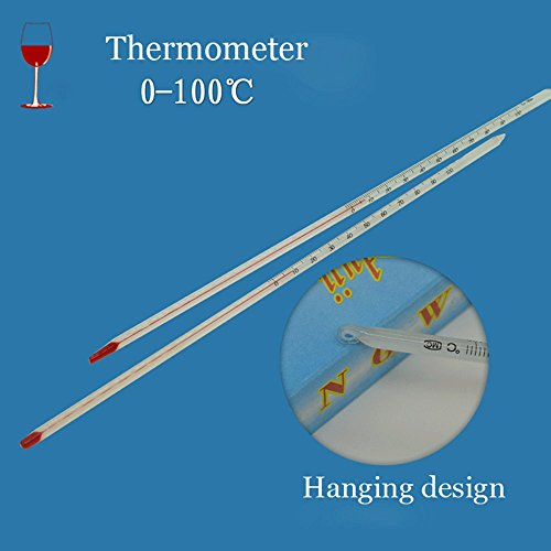 2 of pack 0-100 Degree Glass Thermometer Home Brew Laboratory Red Water Filled Thermometer