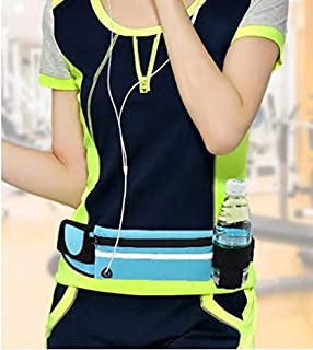 Running Belt Lightweight with Zipper Front Pouch and Convenient Headphone Hole, Side Compartment and Water Bottle Holder. Holds 6-inch Smartphone in Case.