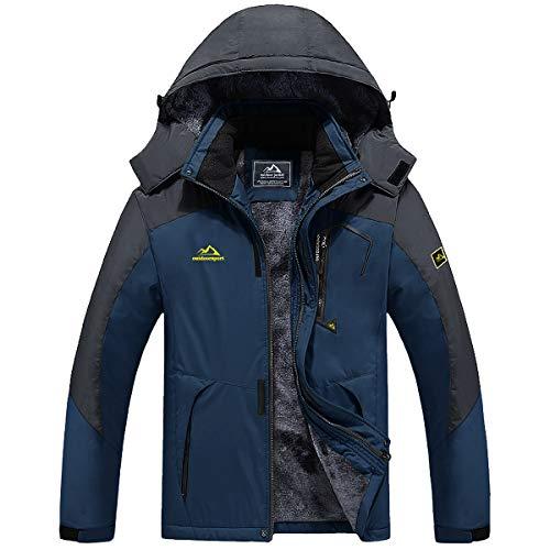 TACVASEN Winter Jackets for Men Fleece Mountain Jacket Windproof Ski Jacket Hooded Multi Pockets, Denim Blue, 2XL