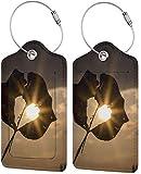 Colorido gatito corazón luz amor Lage etiqueta bolsa de cuero sintético diseño de etiquetas de viaje con cubierta de privacidad con bucles de acero