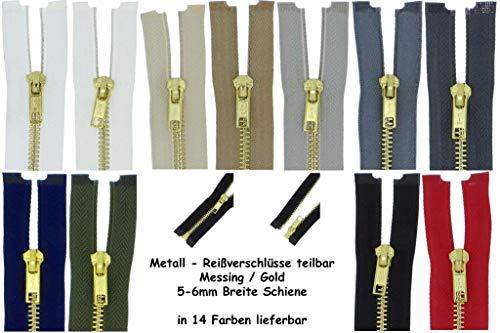zipworld Rei/ßverschl/üsse Gold-Metall Rei/ßverschluss 5mm teilbar braun - 304, 20cm