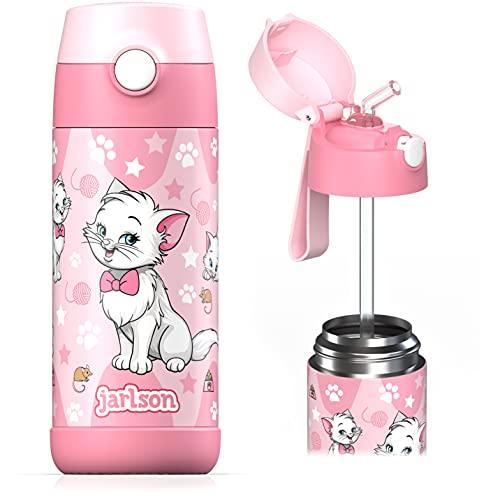 Jarlson Borraccia Bambini Acciaio Inox, Bottiglia Termica, Senza BPA, Bottiglia Acqua con Cannuccia, Termos 350 ml (Gatto 2, 350)
