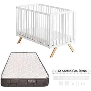 COOL · DREAMS - Cuna colecho Nuru 10 alturas colecho + kit colecho + Colchón HR + Sábanas de cuna