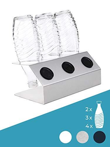 SodaNature™ | 3er & 4er Design Flaschenhalter in 3 Farben z.B. für SodaStream Crystal Glasflaschen | Hochwertiger Abtropfhalter Made in Germany | Edelstahl, Anthrazit, Weiß
