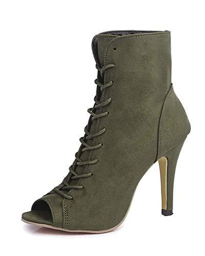 Minetom Mujer Verano Sandalias de Tacón Alto Moda Gamuza Abierto Peep Toe Zapatos De Fiesta Oficina Talla Grande Botas Botines de Encaje hasta