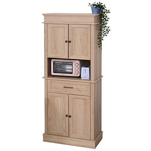 HOMCOM Küchenschrank mit Schublade, Hochschrank mit Verstellbarer Ablage, Kommode, MDF, Spanplatte, 74 x 39,5 x 183 cm