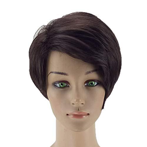 WRYTJKSA Damen Perücke Synthetik Perücke Natur Schwarz Haar Perücke Kurz Kastanie Haarschnitt weiblich