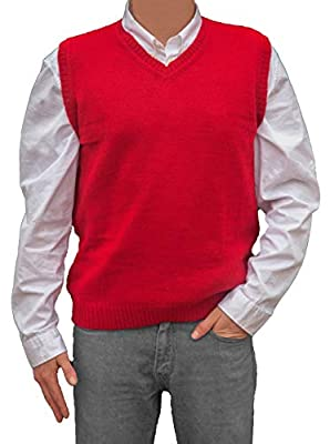 TINKUY PERU - Peruvian Alpaca Wool - Mens Knit V-Neck Pullover Sweater Classic Vest - Red (Large) by