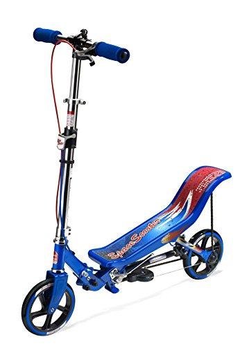 Space Scooter X580, Blau, Tretroller mit Schwungrad, per Luftdruckdämpfer Angetriebener Roller mit Bremsen, Luftfederung, Einfache Faltbarkeit, für Kinder ab 8 Jahren