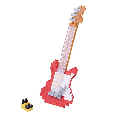 nanoblock NBC-171 - Electric Guitar Red / E-Gitarre 2, rot, Minibaustein 3D-Puzzle, Mini Collection Serie, 160 Teile, Schwierigkeitsstufe 2, mittel