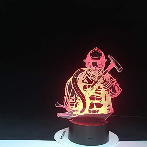 Feuerwehrmann Modellierung USB Kreative Feuerwehrmann Schlaf 3D LED Nachtlicht Tischlampe Nachttisch Dekoration Kinder Geschenk