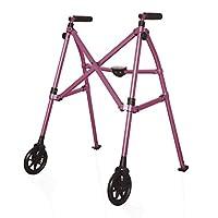 Able Life Space Saver Walker, Andador Para Ancianos Con Freno, Andador Mayores, Caminador Para Adultos, Estrecho y Plegable Con 2 Ruedas, Rosa Real