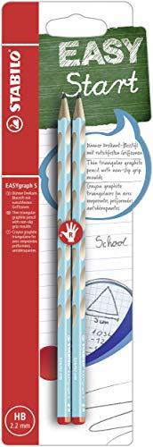 Schmaler Dreikant-Bleistift für Rechtshänder - STABILO EASYgraph S in blau - 2er Pack - Härtegrad HB