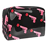 Pink Girl Power Gun Rose Patern Bolsa de maquillaje Organizador de cosméticos Multifuncition Travel Bolsa de aseo impermeable con cremallera para mujeres