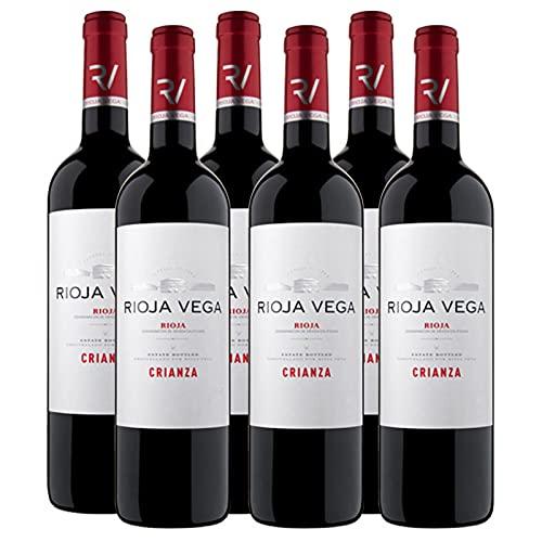Vino tinto Rioja Vega Crianza de 75 cl - D.O. La Rioja - Bodegas Rioja Vega (Pack de 6 botellas)