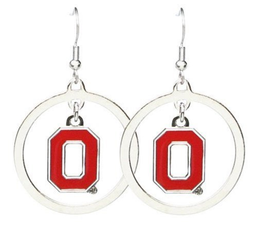 NCAA Ohio State Buckeyes Floating Logo Hoop Earrings-Old Logo
