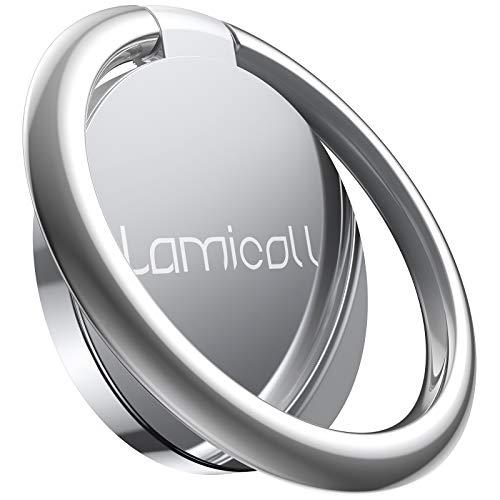 Lamicall Ring Handy Halter, Finger Ring Stand - Universal 360° Handy Selfie Halterung Ständer für iPhone 12, 11 Pro, Xs Max XR X 8 7 6 6s Plus, Samsung S10 S9 S8 S7, alle Android Smartphone - Silber
