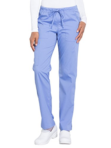 CHEROKEE Workwear Professionals WW160 Women's Mid Rise, Straight Leg Drawstring Pant, Ciel Blue, Small