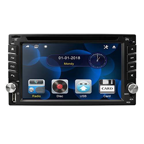 Autoradio, doppio Din, schermo digitale da 6.2 pollici in-Dash, impianto stereo, lettore audio e DVD, controllo remoto, Bluetooth, 8GB, scheda GPS, unità USB SD, Radio FM AM