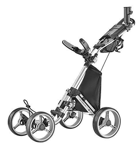 caddytek 4 Wheel Golf Push Cart – Compact, Lightweight, Close Folding Push Pull Caddy Cart Trolley – Explorer V8, silver, one size