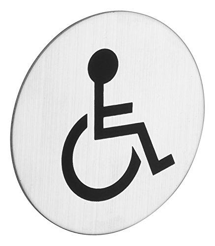 ROSTEX Edelstahl WC Schild Behinderten Toilette Rund - Piktogramm selbstklebend kreisrund