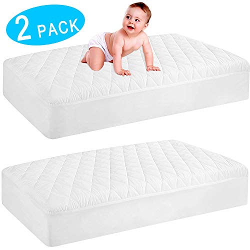 """2 Pack Waterproof Crib Mattress Protector, Quilted Fitted Baby Mattress Cover, Extra Soft Breathable Toddler Mattress Pad 52""""x28""""-9"""" Deep, White"""