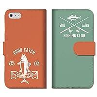 chatte noir iPhone12mini ケース iPhone 12ミニ ケース 手帳型ケース 手帳型 おしゃれ 釣り 竿 魚 ルアー ロゴ カラフル メンズ かっこいい B 手帳ケース