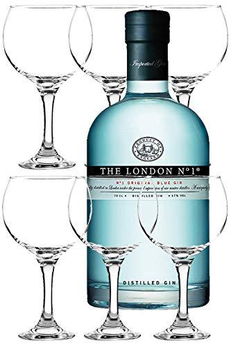 The London No. 1 Gin 0,7 Liter + 6 Gin Ballon Gläser