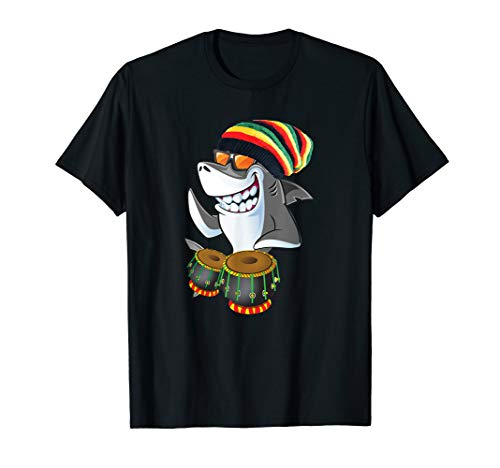 Rasta Reggae Shark on Drums T Shirt