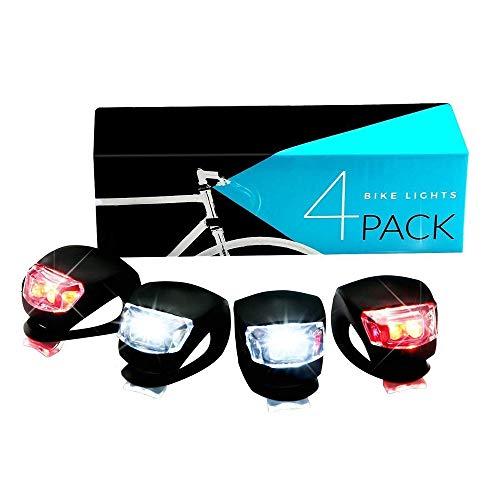 TJCJIEM 4 Pack LED Fahrradrücklicht, LED Blinklicht Clip-On Sicherheitslicht Set - 3 Beleuchtungsmodi Silikon Fahrradlicht, Wasserdicht Lichter für Fahrräder, Helme, Mountainbike, Roller, Kinderwagen
