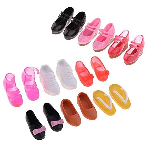 chuangzhao shop 9 pares de zapatos de plástico de moda para Blythe Licca para Dollfie DOD 1/6