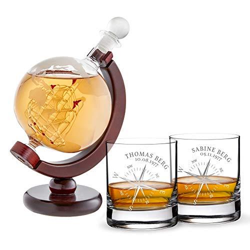 AMAVEL Whiskykaraffe Globus mit innenliegendem Segelschiff und 2 Whiskygläser mit Kompass Gravur, Personalisiert mit Name und Datum