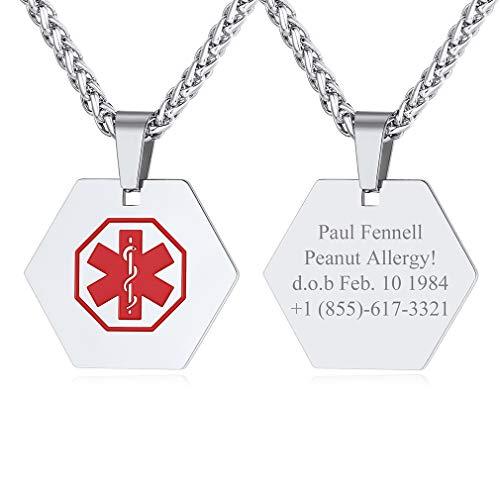 Colgantes Hexágonos Personalizados con Cruz Roja Collares Medicales Resistentes para Hombre Joven Joyería Moderna para Cuello
