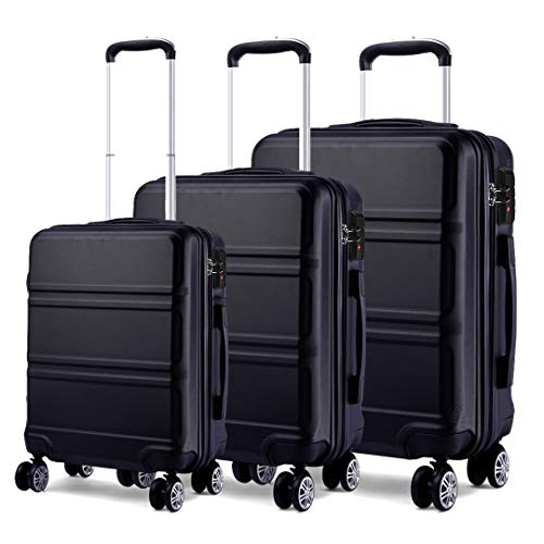 Kono Luggage Sets of 3 Piece Lightweight 4 Spinner Wheels Hard Shell Trolley Case 20'/24'/28' (Black Set)