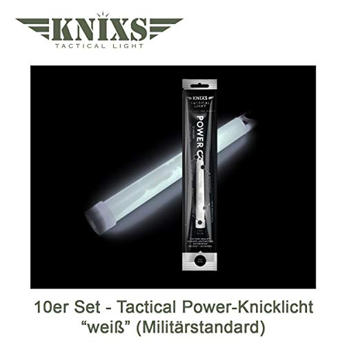 10er Set - Power-Knicklicht/Leuchtstab Tactical Light im Militär-Standard - weiß leuchtend (6