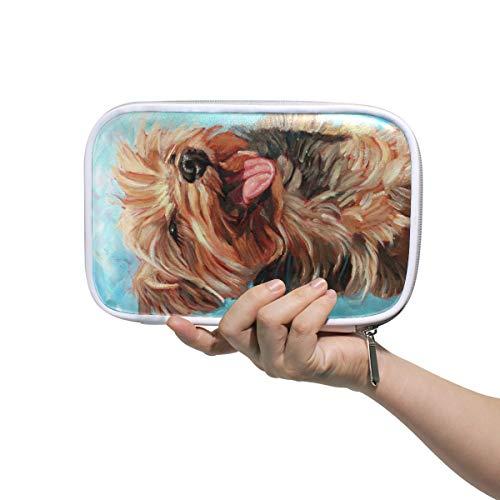Gelukkig Yorkshire Terrier In De Zon Hond Schilderij Potlood Case Cosmetische Tas Grote Capaciteit Organizer Make-up Koppeling Tas voor Travel School
