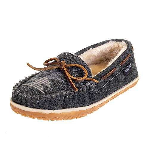 Minnetonka Women's Tilia Suede Moccasin Slippers, Grey, 9 M