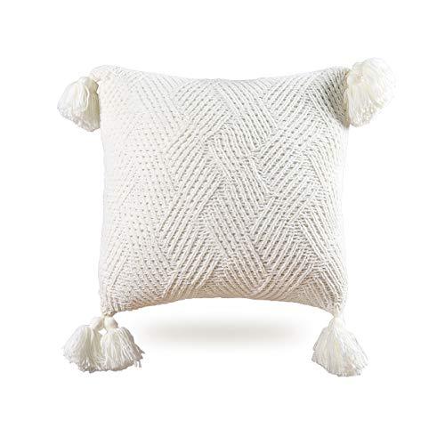 MYLUNE HOME Funda de cojín de chenilla de punto suave de 45 x 45 cm, color blanco
