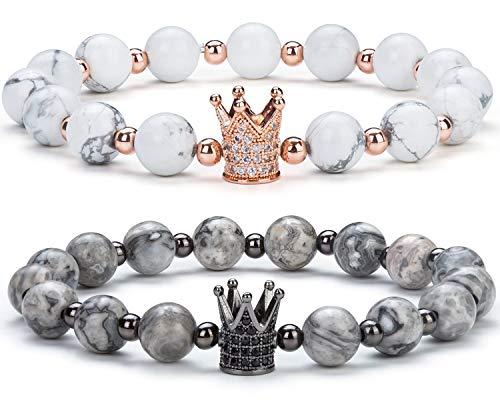 Hamoery Couple Bracelet Crown Queen Bracelet Distance Bracelet Friend Gifts Good Gift for Couple 8 mm Natural Stone Lava Bracelet(Set1)