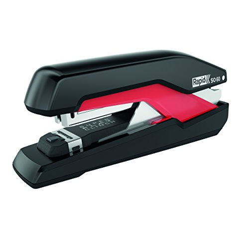 RAPID 5000553 - Grapadora SUPREME con tecnología Super Flat Clinch y Omnipress modelo SO60 fullstrip color negro/rojo