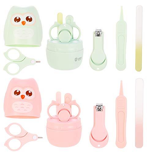 Rubywoo&chili 2 Stücke Baby Nagel Kit, Baby-Nagelknipser, Schere, Nagelfeile und Pinzette, Baby-Maniküre-Kit für Neugeborene in süßer Eule Geschenk-Verpackung