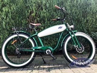 "RKM Roller-King - Motore elettrico rétro EBike E Cruiser Pedelec, verde/bianco, 26x4"""