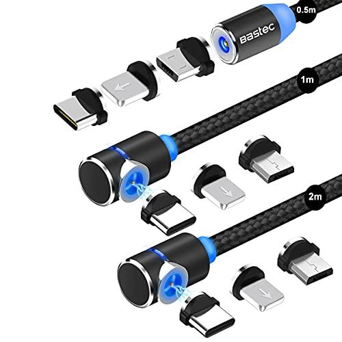 マグネット 充電ケーブル Bastec 3in1 USBケーブル 【3本セット】急速充電 360度回転 磁石 磁気 防塵 着脱式 マイクロUSB Type-C コネクタ タイプc Micro USB Cable 結束バンド付き(0.5M+1M+2M)-ブラック