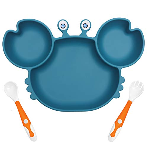 YIVEKO Baby Plates with Suction Divided, Baby Spoon Fork Set for Toddlers, Silicone Plates for Kids with Suction Baby Dishes Kids Plates and Utensils-Crab Blue