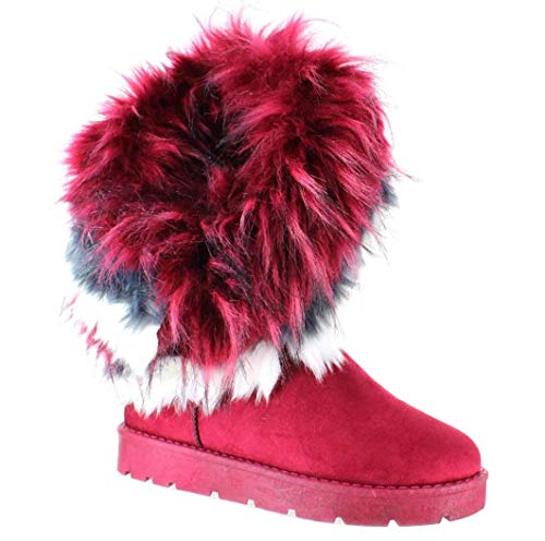 PAZZLE Ada Stylish Womens Winter Boots Mid Calf Ankle Boots Faux Fur Tassel Shoes (10, Burgundy)