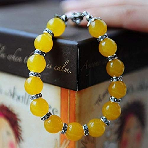 Shability Elegant Beautiful Yellow Gate Beads Bracelet For Ladies Dotted With Shiny Rhinestones Original Handmade Quality Ethnic Jewelry yangain (Color : Yellow)