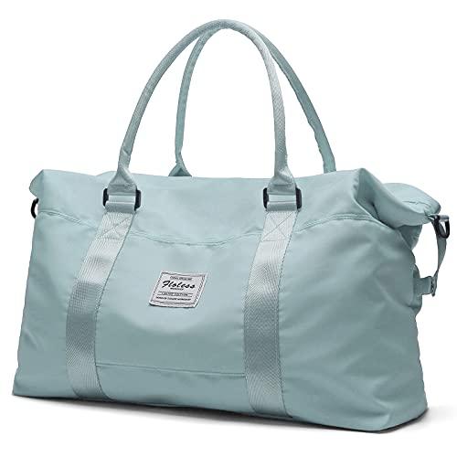 Bolsa de lona de viaje, bolso tote, bolsa de deporte para gimnasio, bolsa de hombro para fin de semana para mujer, B-pale Green-Large, L,