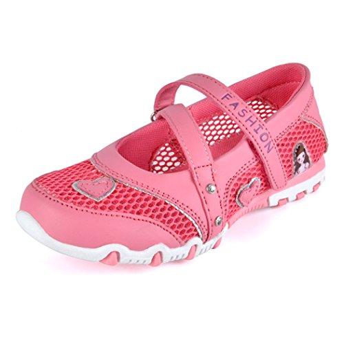 Kinder Mädchen Sandalen Geschlossen Mesh Schuhe Rutschfest Atmungsaktiv Prinzessin Flach Kinderschuhe Frühling Sommer, Rot, 27 EU